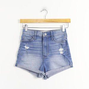 Hollister high rise denim shorts cuffed distressed
